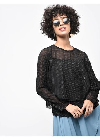 Black color Tops and Tunics . Dalmation Printed Top -