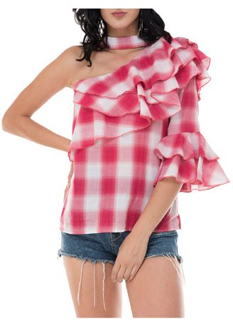 Red color Tops and Tunics . Assymetrical One Side Ruffled Top -