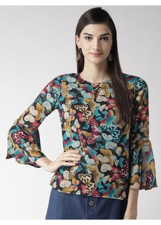 Multi color Tops and Tunics . Butterfly Round Neck Flared Sleeves Top -