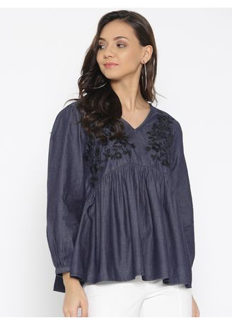 Blue color Tops and Tunics . Denim Embroidered Panelled Top -