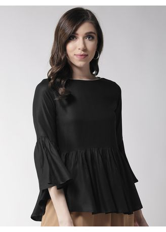 Black color Tops and Tunics . Solid Black Flared Down Top -