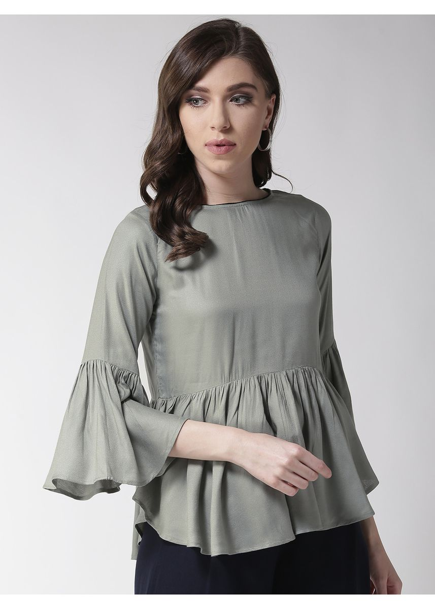 Green color Tops and Tunics . Solid Green Flared Sleeves Top -