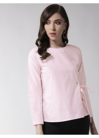 Pink color Tops and Tunics . Tie-Me Full Sleeve Top -
