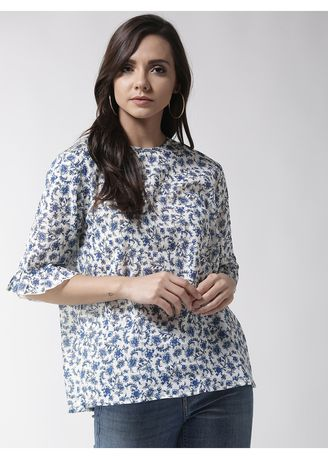 White color Tops and Tunics . Ditsy Floral Printed Full Sleeve Top -