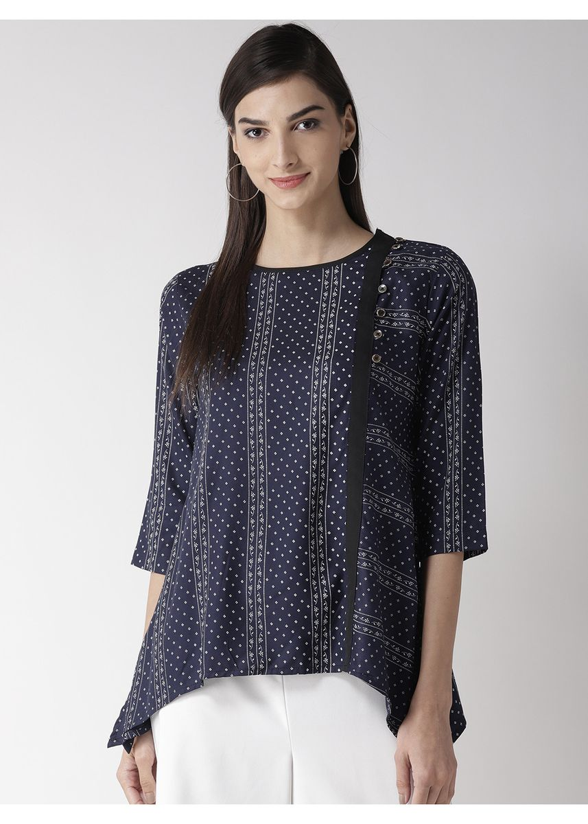 Navy color Tops and Tunics . Printed Flowy Top -