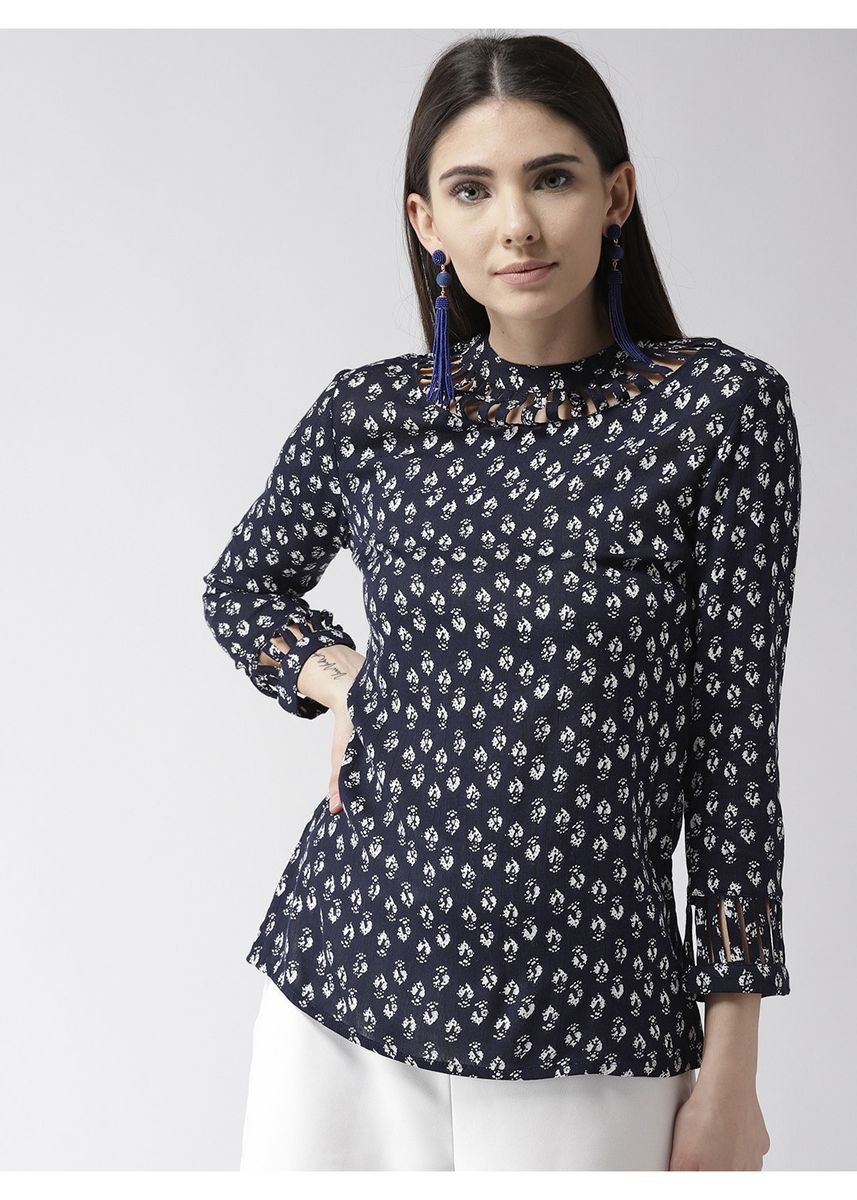 Navy color Tops and Tunics . Ditsy Printed Full Sleeve Top -