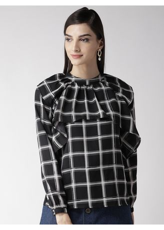 Black color Tops and Tunics . Checks Printed Ruffled Blouse -