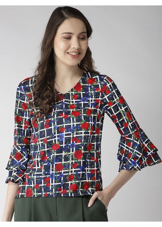 Multi color Tops and Tunics . Cross Print Floral Printed Top -