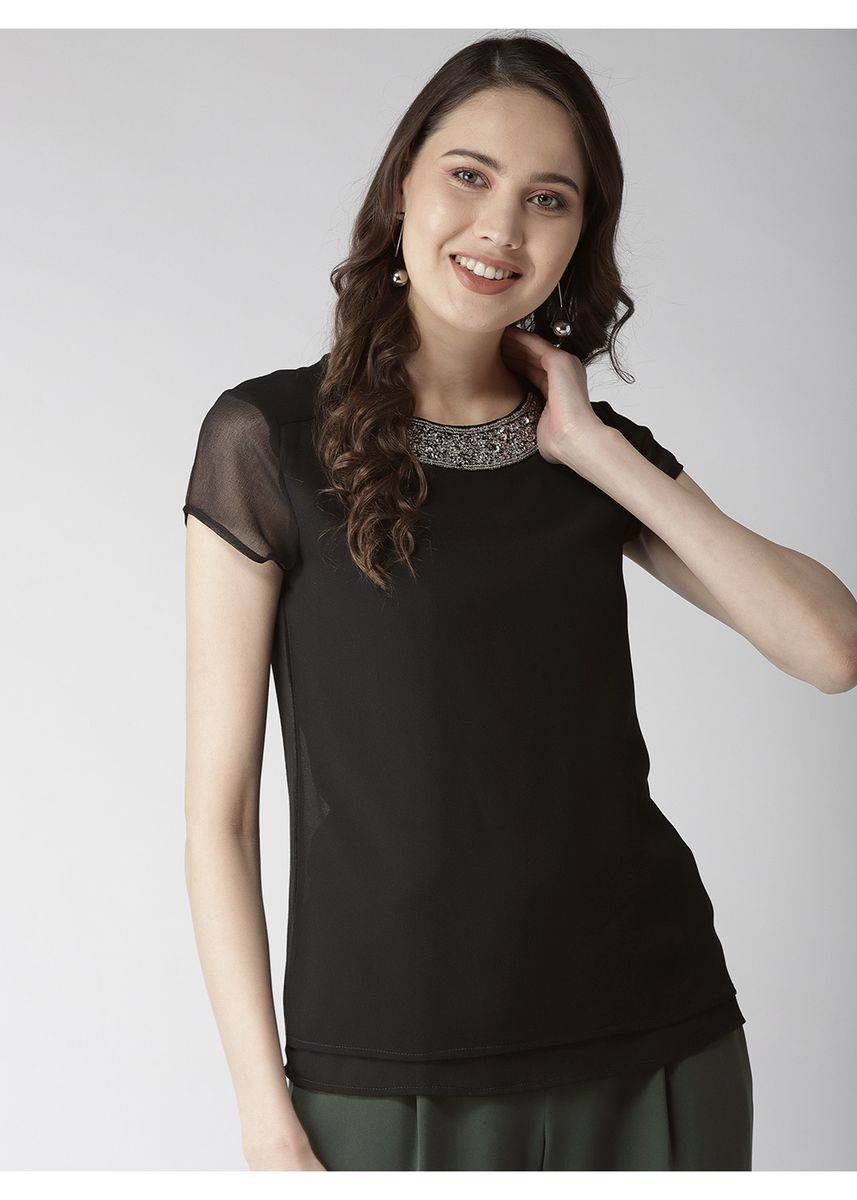 Black color Tops and Tunics . Round Neck-Line Embroidered Top -