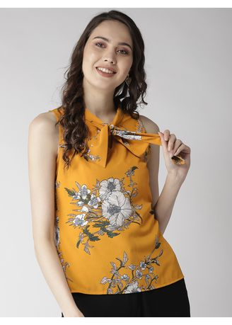 Yellow color Tops and Tunics . Bow-Tie Ditsy Floral Printed Sleeveless Top -