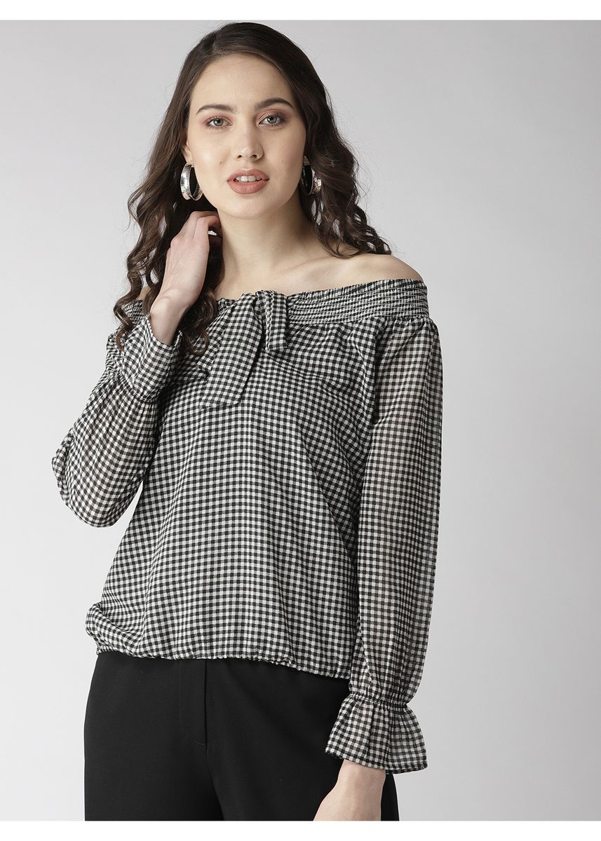 Black color Tops and Tunics . Tie- Infront Checks Top -