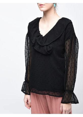 Black color Tops and Tunics . Long V-Neck Embroidered Top -