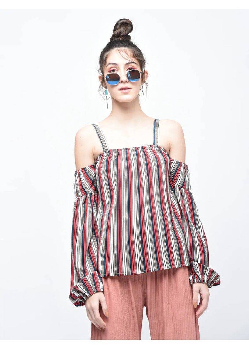 Multi color Tops and Tunics . Off-Shoulder Striped Top -