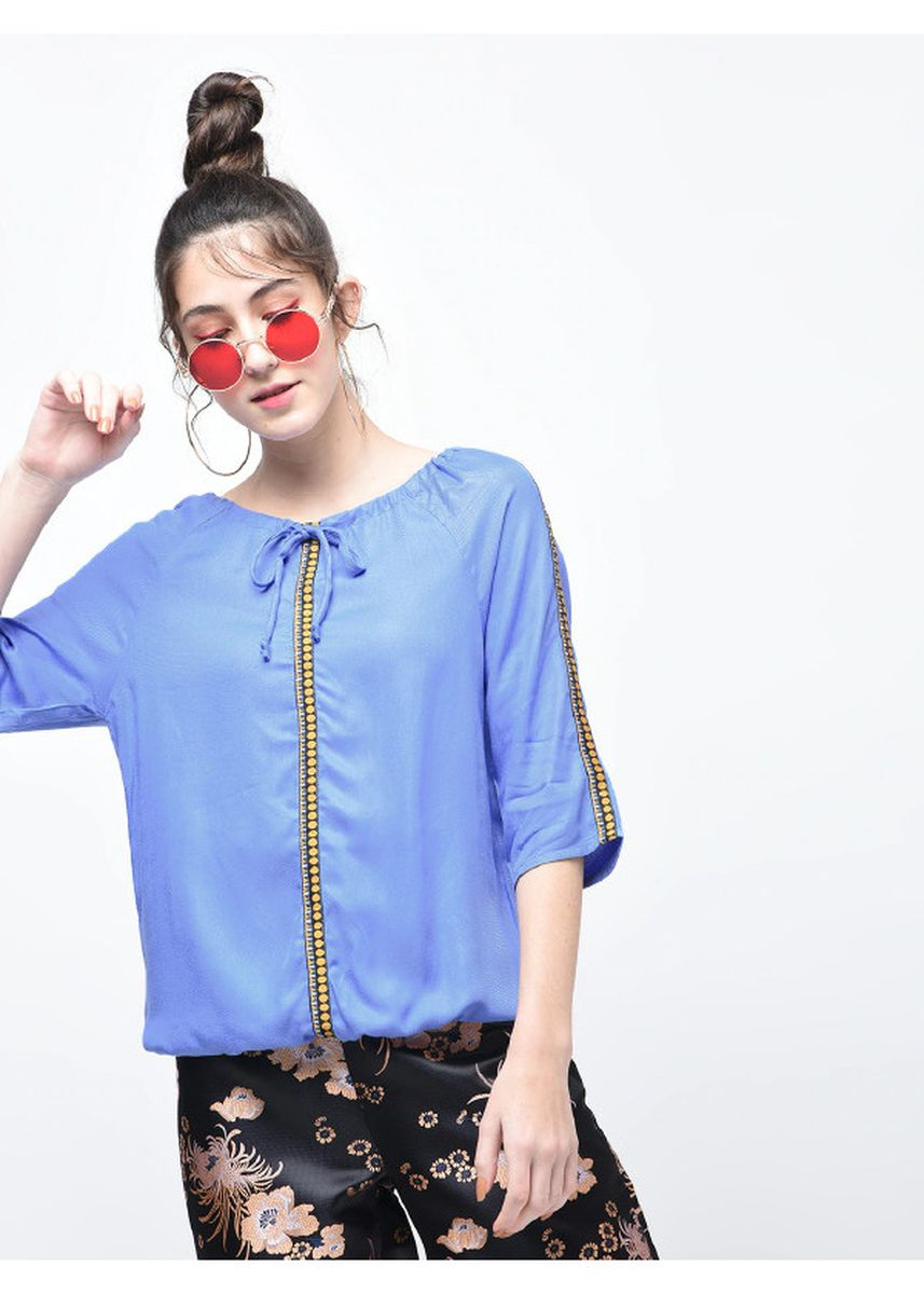 Blue color Tops and Tunics . Blue One-Side Panelling Top -