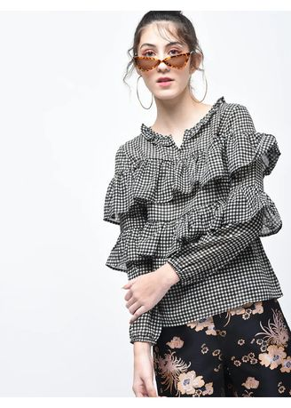 Black color Tops and Tunics . Double Layered Ruffled Checks Top -