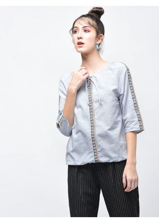 Blue color Tops and Tunics . Shoulder Panelling Top -