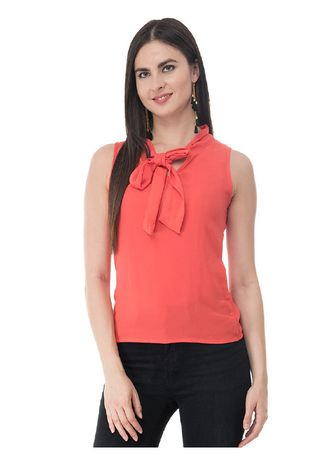 Orange color Tops and Tunics . Solid Tie-Front Sleeveless Top -