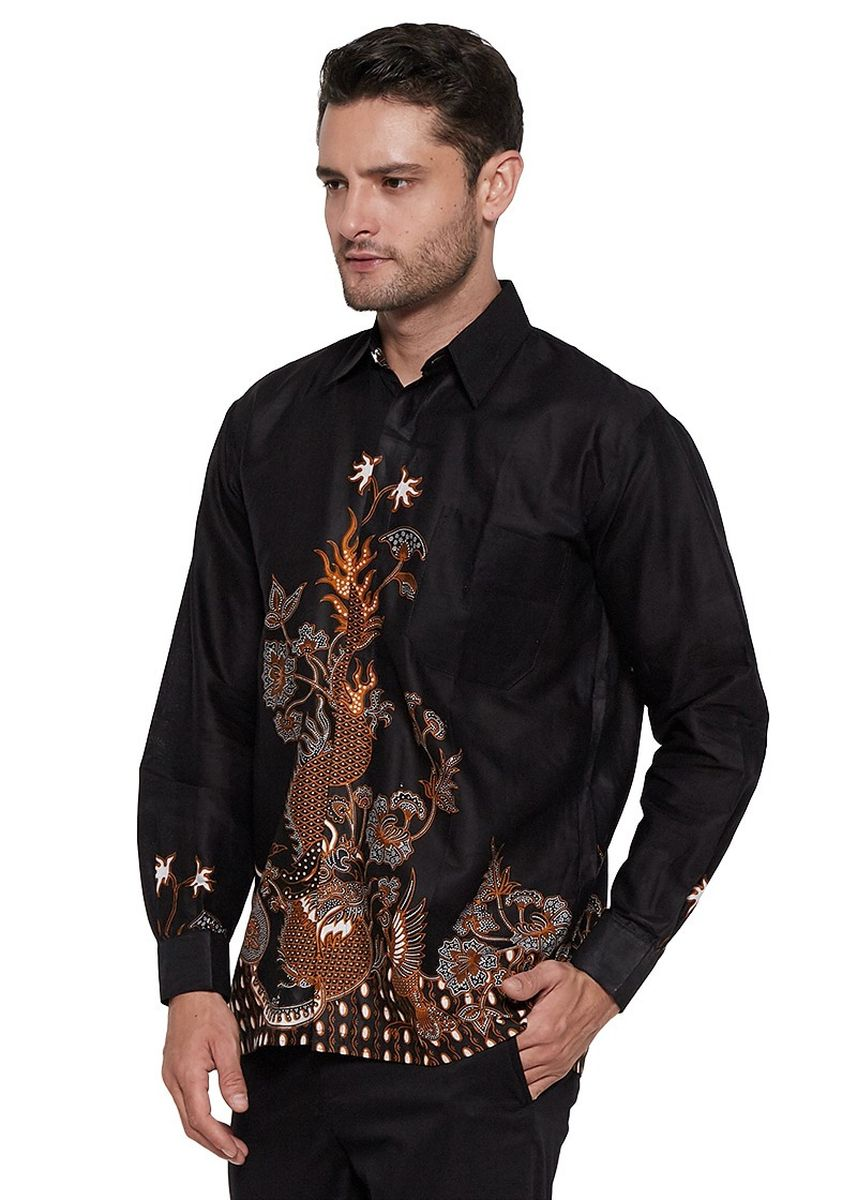 Black color Formal Shirts . Kemeja Batik Pria Hem Modern Kasual Nogososro -