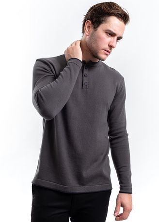Grey color T-Shirts and Polos . MANLY Knitted Hackett Dark Grey  -