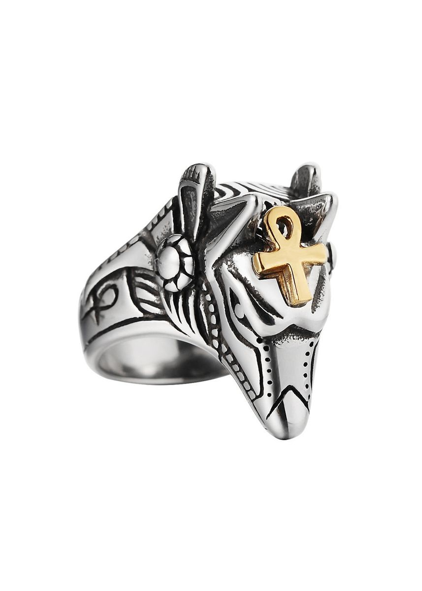 Gold color Rings . Egyptian Pharaoh Patron Saint Anubis Men's Ring -