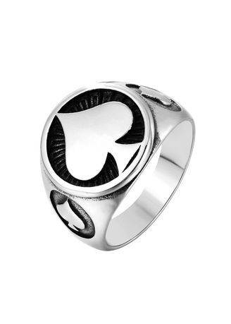 Silver color Rings . Vintage Men's Spades Poker Ring -
