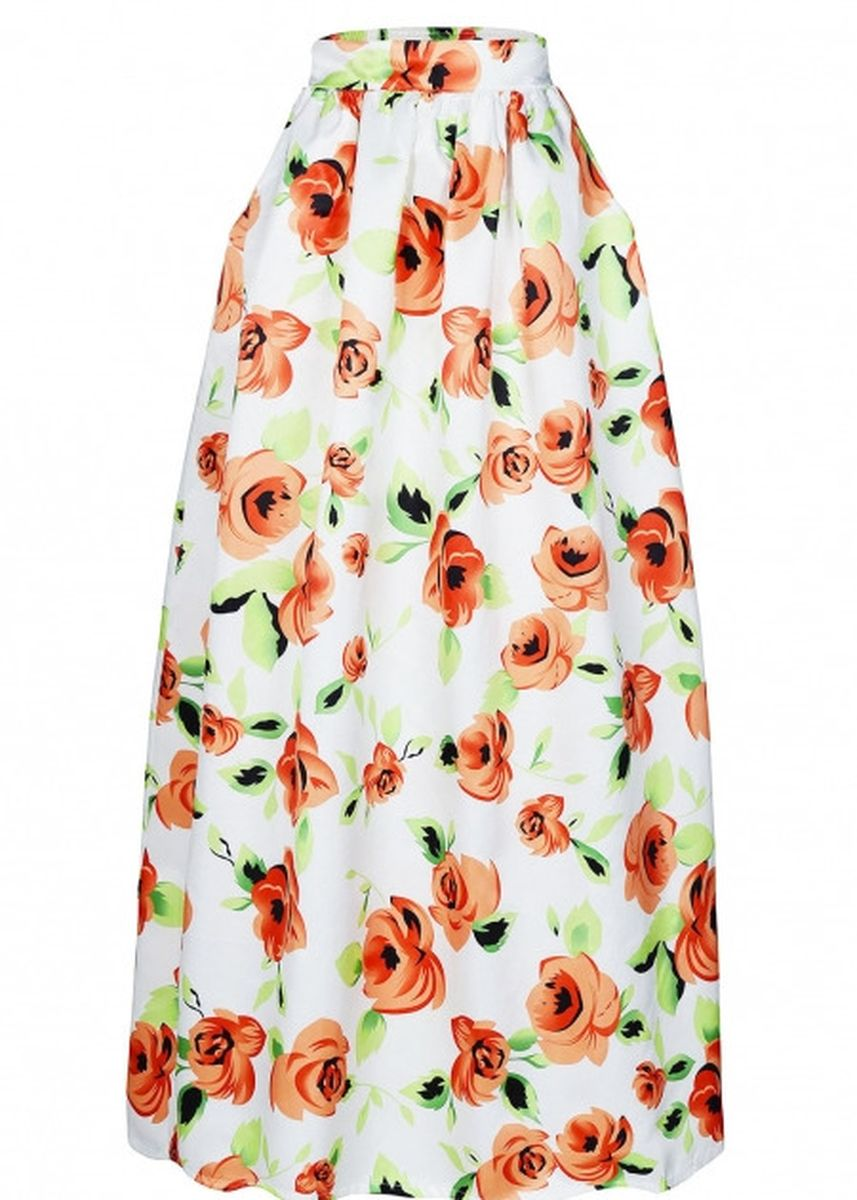 Orange color Skirts . Flower African Print Maxi Skirt -