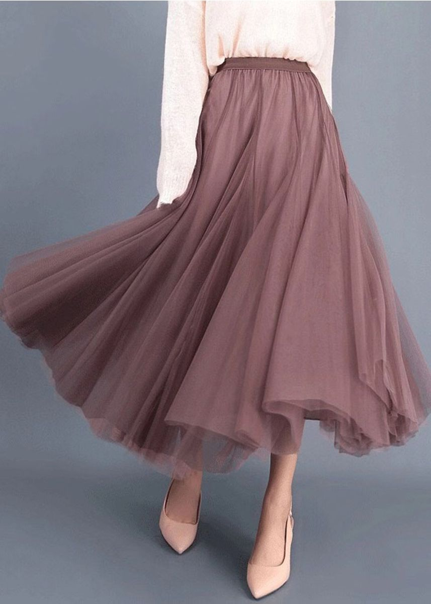 Maroon color Skirts . Autumn And Winter Fairy Pleated A-Line Skirt -