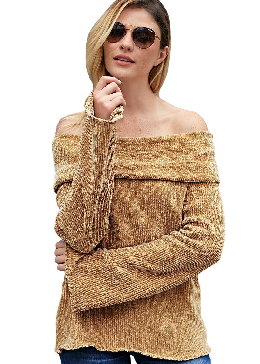 Khaki color Jackets . Soft Velvet Knit Off Shoulder Sweater -