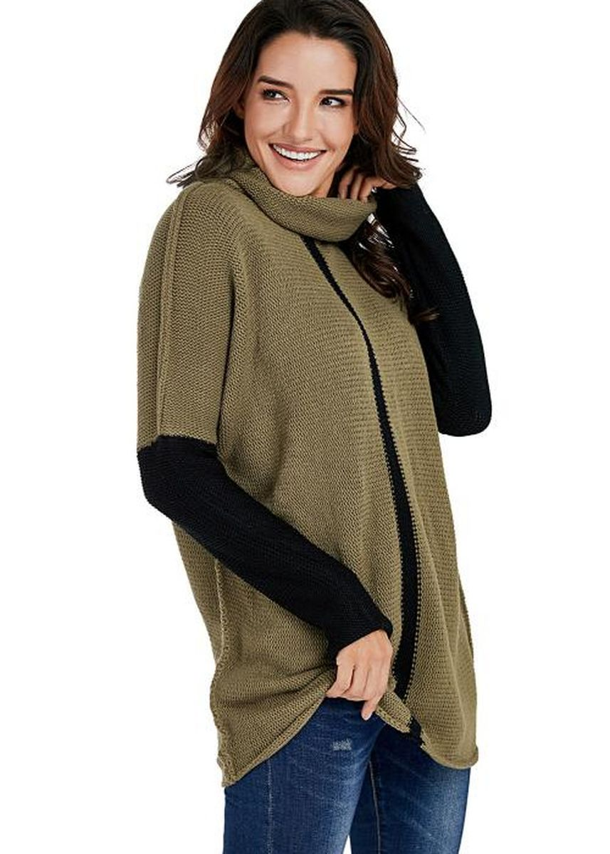 Olive color Jackets . Individual Cowl Neck Pullover Sweater -