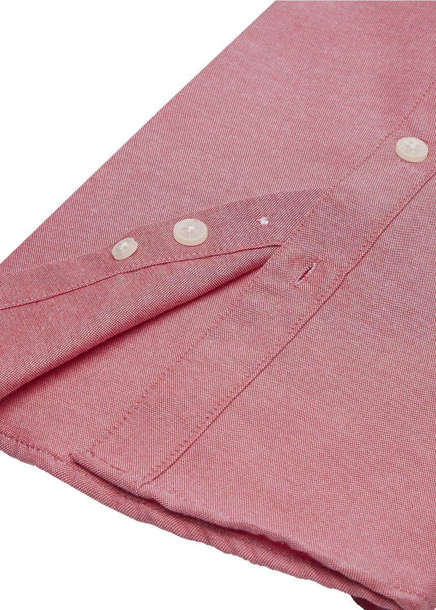 Red color Tops . Cabbage Looper Boys Plain Oxford Button Down Long Sleeve Shirt -
