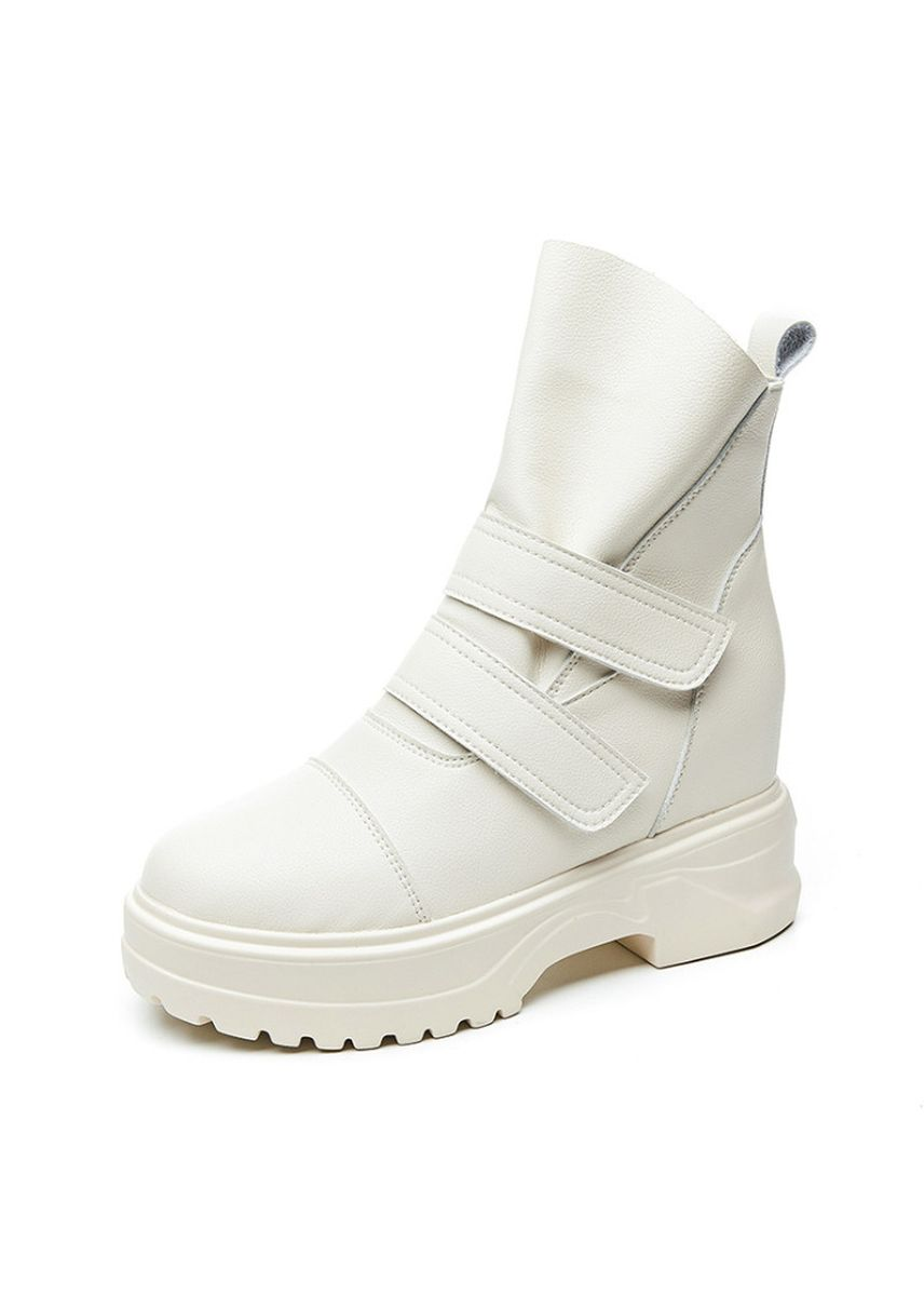 White color Boots . Women's Style Velcro Leather Boots -