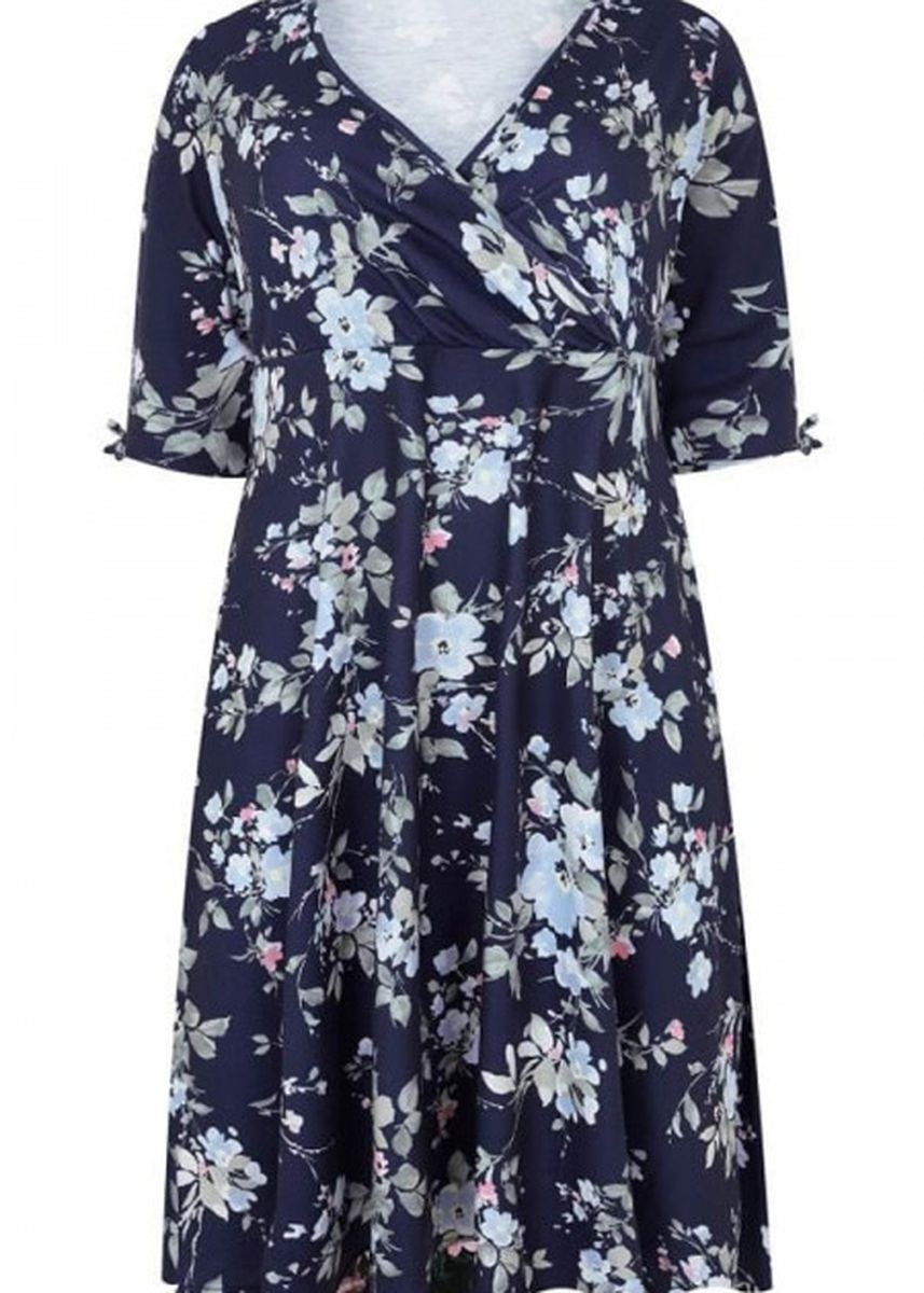 Navy color Plus Size Fashion . 3/4 Length Tie Sleeves Floral Jersey Wrap Dress -