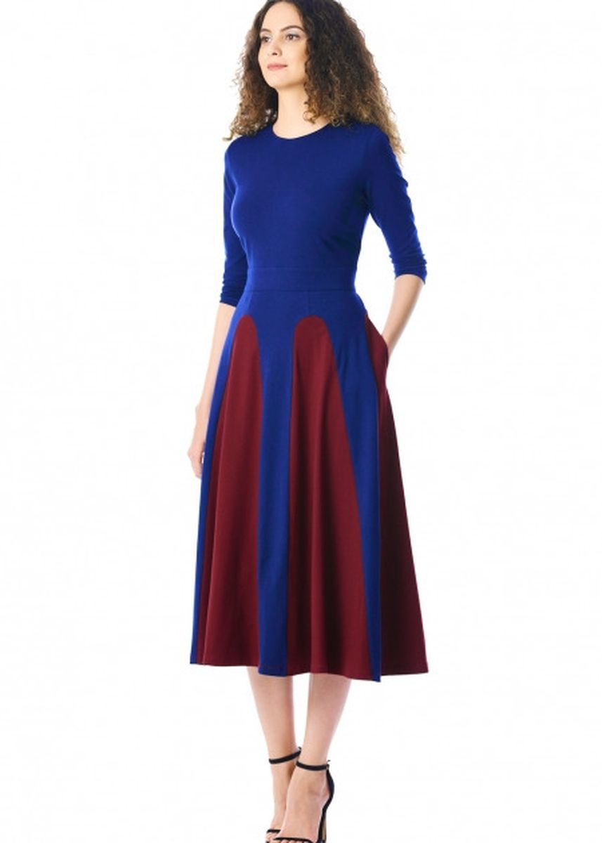 ฟ้า color เดรส . Color Block 3/4 Sleeve Round Neck Midi Dress -