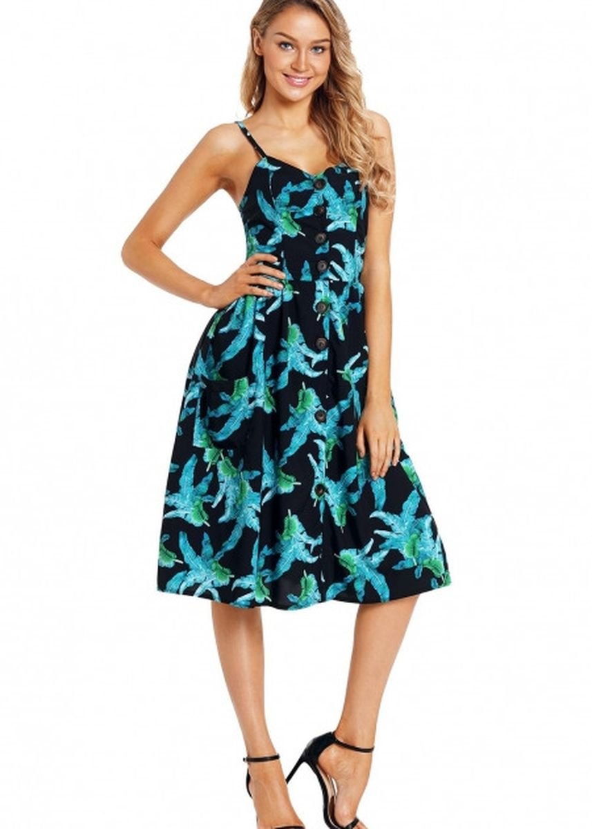 Green color Dresses . Printed Button Down Sundress -