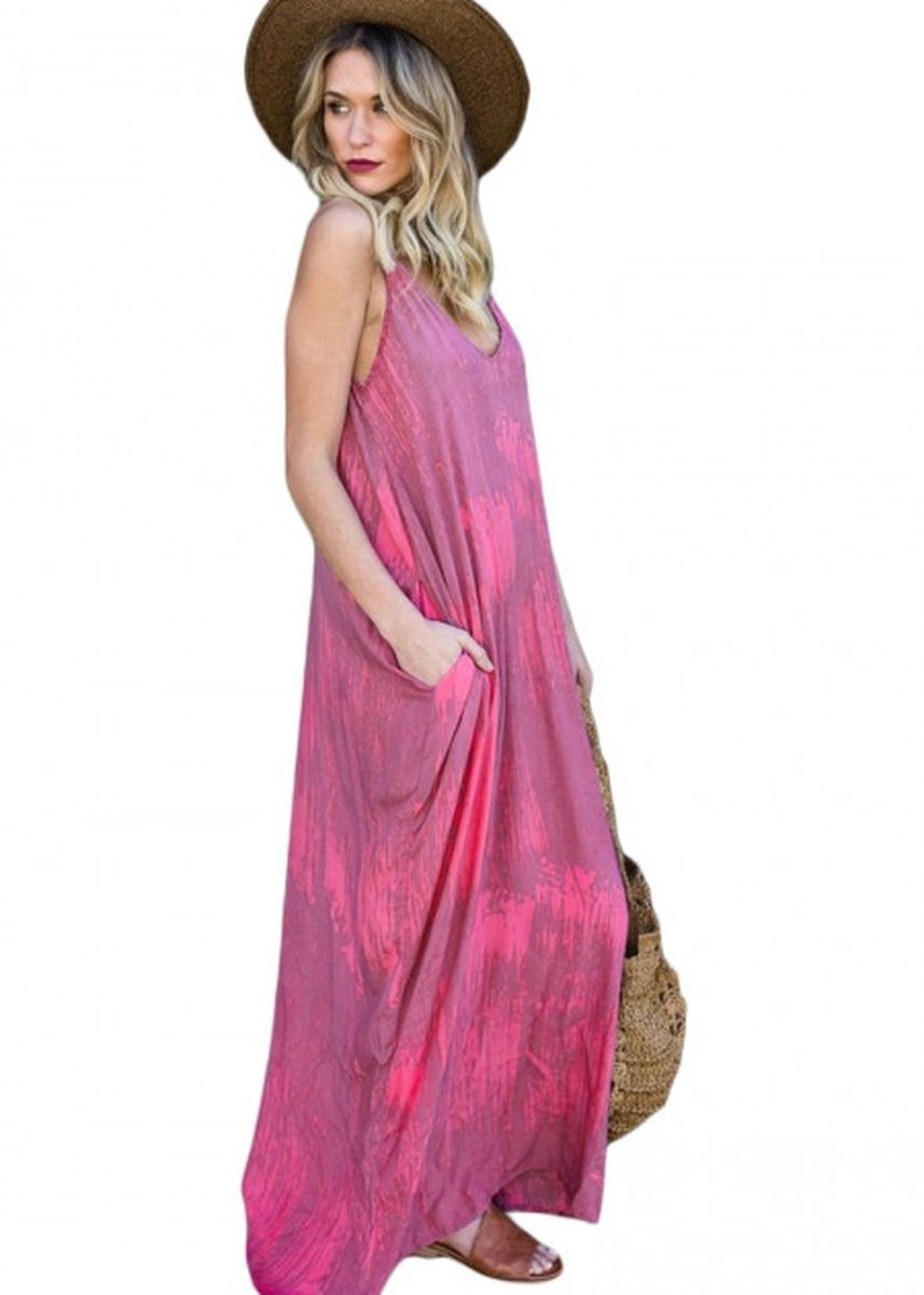 ชมพู color เดรส . Rosy Multi Colors Tie Dye Holiday Maxi Dress -