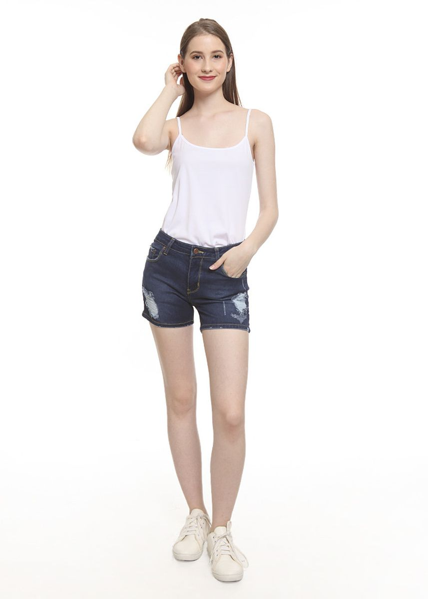 Navy color Shorts . 2Nd RED Celana Pendek Wanita Sobek Hot Pants Rips Premium 261903 -