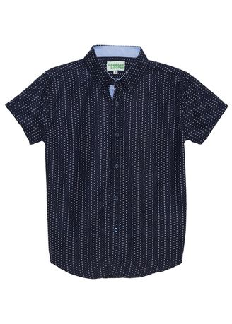 Navy color Tops . Cabbage Looper Boy's Printed Button Down Short Sleeve Shirt -