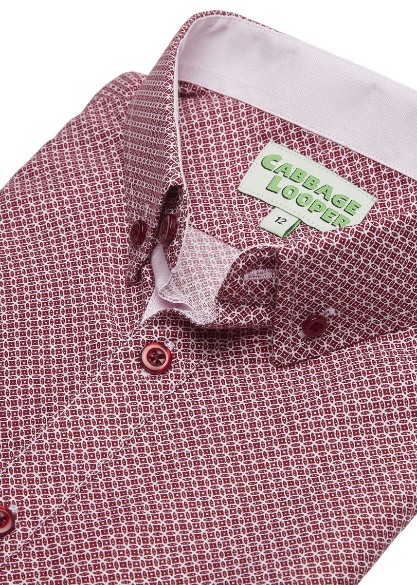 Red color Tops . Cabbage Looper Boys Printed Button Down Short Sleeve Shirt -