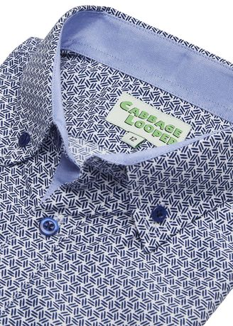 Blue color Tops . Cabbage Looper Boys Printed Button Down Short Sleeve Shirt -