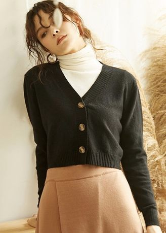Black color Jackets . Warm Me Please Cropped Knitted Cardigan -