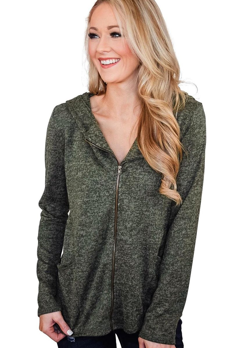 Green color Jackets . Hooded Zipper Cardigan Coat -