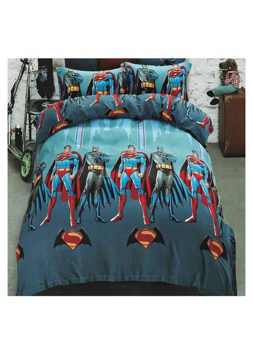 Multi color Kamar Tidur . Sleep Buddy Set Sprei dan Bed Cover  Superheroes Tencel Poly Extra King Size -