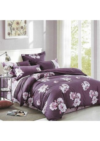 Multi color Kamar Tidur . Sleep Buddy Set Sprei dan Bed Cover Purple Flower Cotton Sateen King Size -