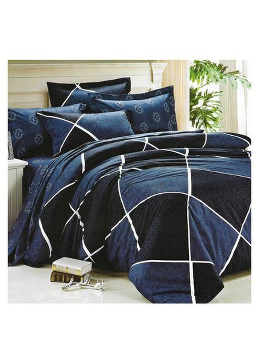 Multi color Kamar Tidur . Sleep Buddy Set Sprei dan Bed Cover Lux Navy Cotton Sateen Single Size -