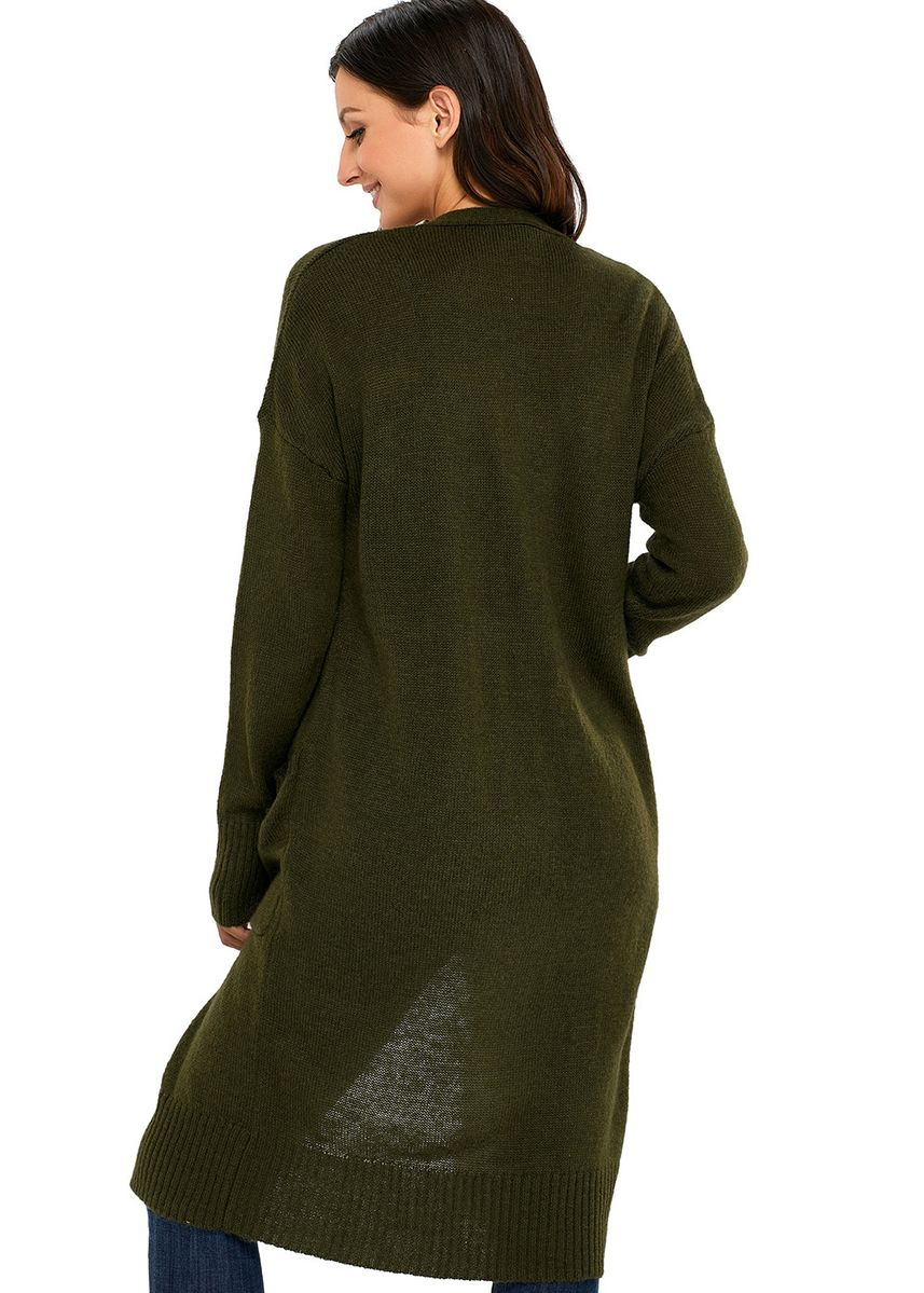 Olive color Jackets . Knit Long Sleeve Open Front Cardigan -