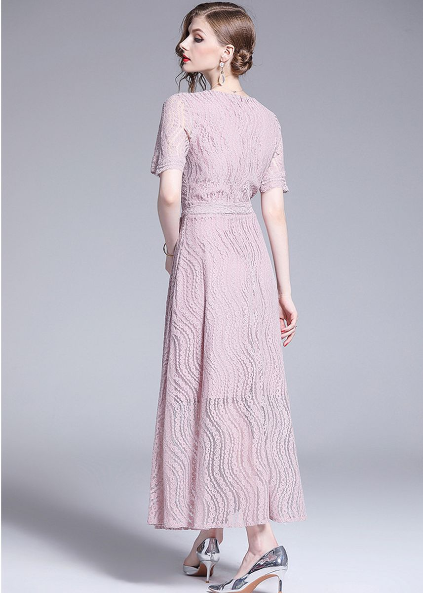 ชมพู color เดรส . Elegant Women Slim Fit Lace Dress -