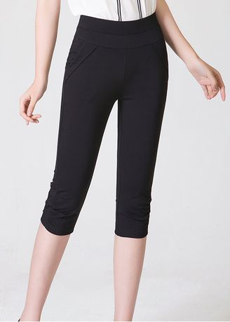 Black color Shorts . High Waist Was Thin and Thin Large Size Casual Cropped Pants -