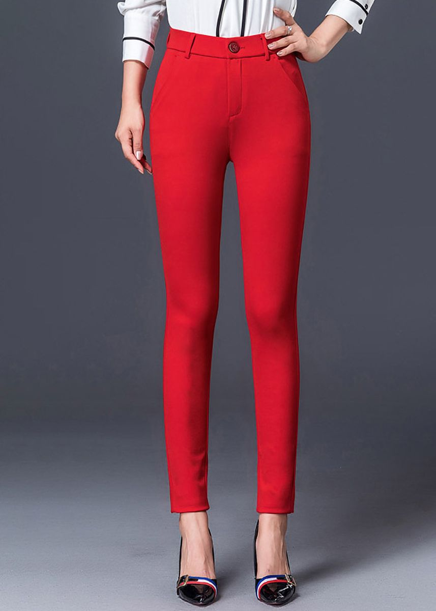 Red color Trousers . High Waist Slim Fit Stretch Casual Pants -