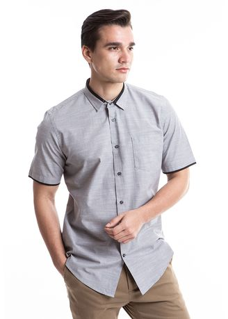 Grey color Casual Shirts . MANLY Kemeja Slim Fit Scoty Grey -