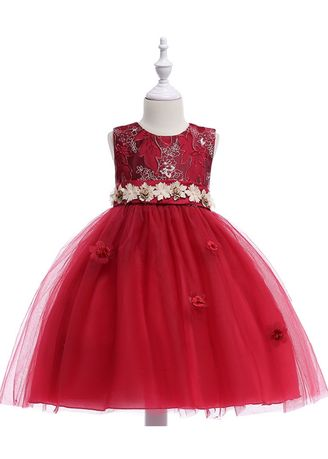 Red color Dresses . Girl's Lace Performance Costume Dress -